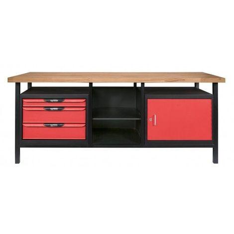 Établi professionnel d'atelier 1 porte et 3 tiroirs L.2m kstools