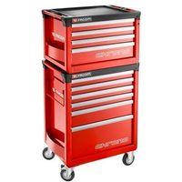Coffre Chrono 4 tiroirs composé de 3 modules et tiroirs rouge