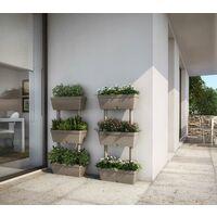 Fioriera verticale componibile 3 vasi kit vasi orto 49x16,1xH100cm tortora fiori