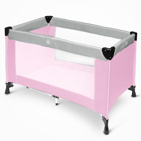Portable Baby Bed, Baby Play Yard, CE standard, 125 x 65 x 76 cm (49.2 x 25.6 x 29.9 inch), Grey/Pink, Deployed size: 125 x 76 x 65 cm
