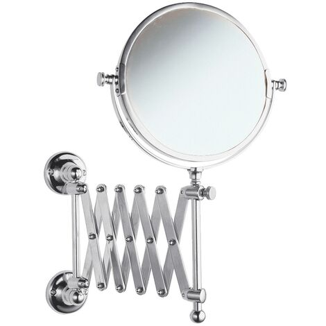 Milano Elizabeth - Traditional Wall Mounted Bathroom Double Sided Extending Tilt Swivel Round Shaving Vanity Mirror - Chrome