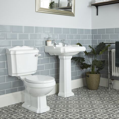 Milano Legend - White Traditional Ceramic Close Coupled Toilet WC and Full Pedestal Bathroom Basin Sink with Two Tap Holes