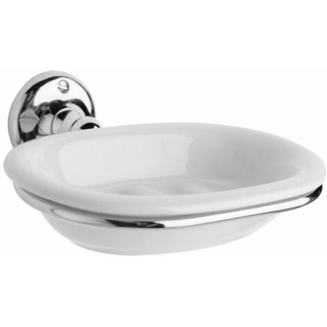Milano Elizabeth - Traditional Wall Mounted Bathroom Ceramic Soap Dish and Chrome Holder