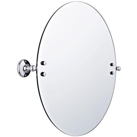 Milano Elizabeth - Traditional Wall Mounted Bathroom Round Tilt Shaving Vanity Mirror - Chrome