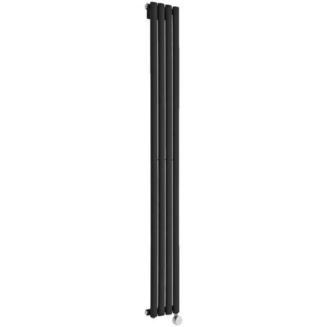 Milano Aruba Slim Electric - 1780mm x 236mm Modern Vertical Column Single Panel Designer Radiator - Black