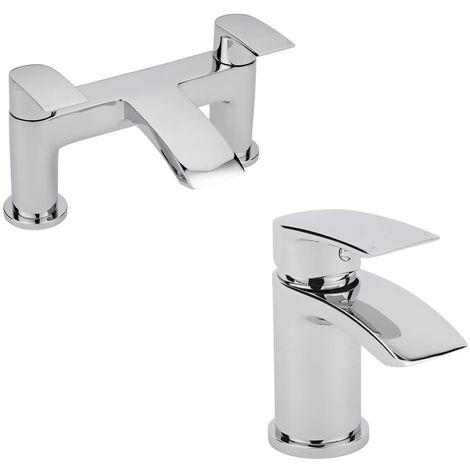 Milano Razor - Modern Bathroom Mono Basin Mixer Tap and Bath Filler Tap Set – Chrome