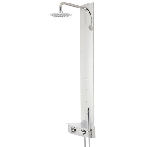 Milano Astley - Modern Corner Thermostatic Shower Tower Panel with Rainfall Shower Head, Hand Shower Handset and Body Jets - Chrome