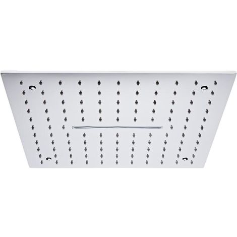 Milano Arvo - Chrome Modern 400mm Square Ceiling Mounted Recessed Shower Head with Waterblade Function