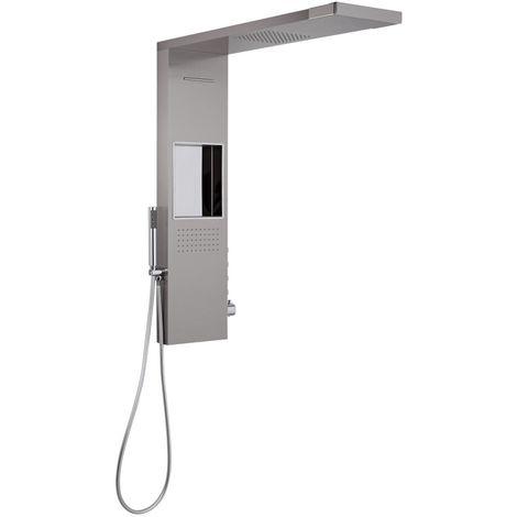 Milano Vaso - Modern Shower Tower Panel with 800mm Glass Grabbing Rainfall Shower Head, Hand Shower Handset, Body Jet and Waterblade Function – Chrome