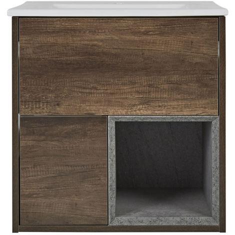 Milano Bexley – Dark Oak 610mm Bathroom Vanity Unit with Basin
