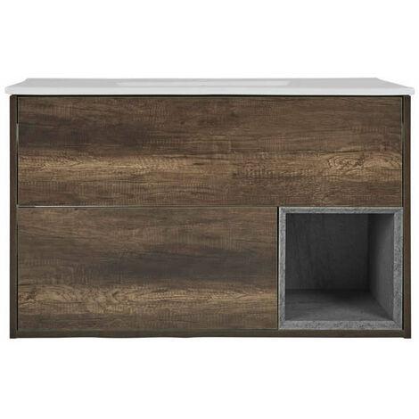 Milano Bexley – Dark Oak 1010mm Bathroom Vanity Unit with Basin
