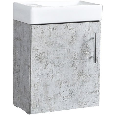 Milano Lurus - Concrete Grey 400mm Compact Wall Hung Bathroom Cloakroom Vanity Unit with Basin