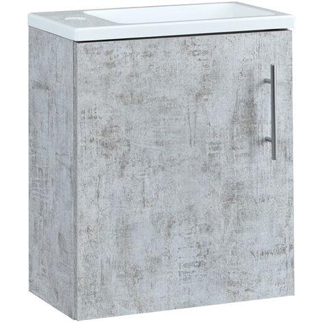 Milano Lurus - Concrete Grey 400mm Compact Wall Hung Bathroom Cloakroom Vanity Unit with Slimline Basin