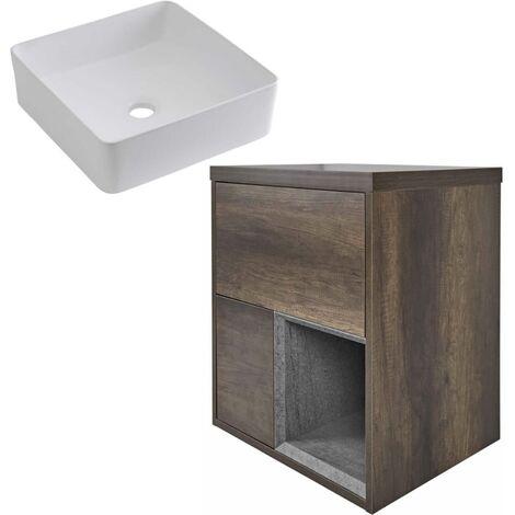 Milano Bexley – Dark Oak 600mm Bathroom Vanity Unit with Square Countertop Basin - with LED Light