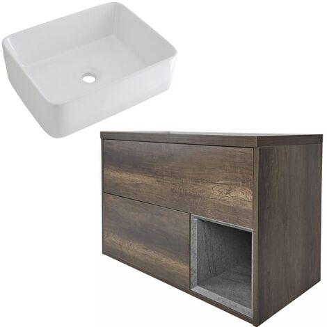 Milano Bexley – Dark Oak 800mm Bathroom Vanity Unit with Rectangular Countertop Basin - with LED Light