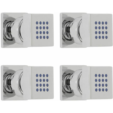 Milano Arvo - Modern Front Fix Chrome Bathroom Shower Square Body Jets - Pack of 4