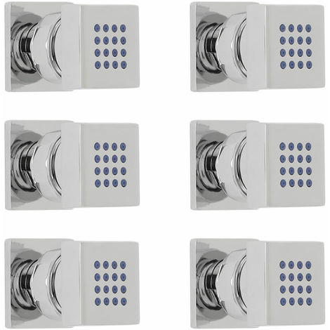 Milano Arvo - Modern Front Fix Chrome Bathroom Shower Square Body Jets - Pack of 6