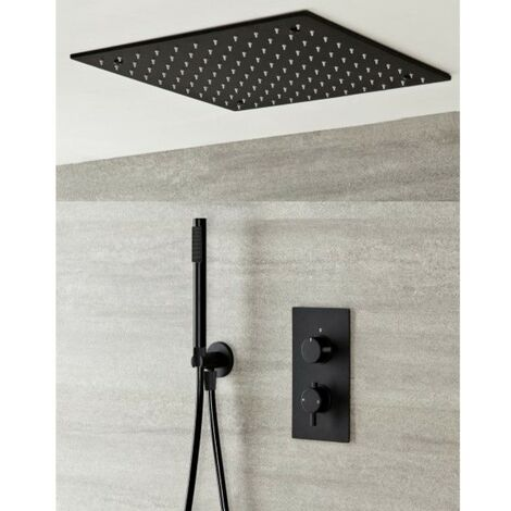 Milano Nero - Modern Black Concealed Twin Diverter Thermostatic Mixer Shower Valve with 400mm Square Ceiling Mounted Recessed Rainfall Shower Head and Hand Shower Handset Kit