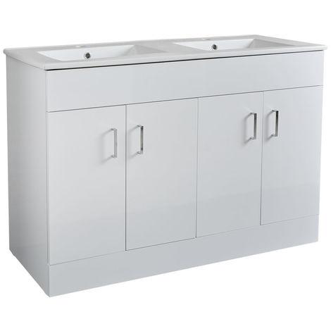 Milano Ren - White 1210mm Bathroom Vanity Unit with Double Basin