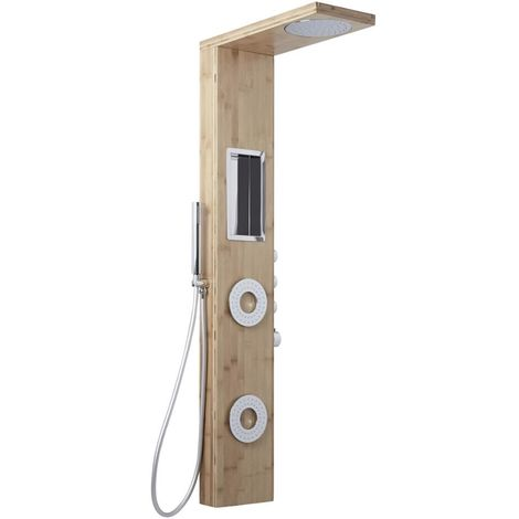 Milano Karr - Modern Thermostatic Shower Tower Panel with Rainfall Shower Head, Hand Shower Handset and Body Jets – Bamboo