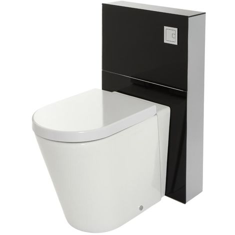Milano Arca - Black 504mm Bathroom Toilet WC Unit with Back to Wall Pan, Cistern and Soft Close Seat