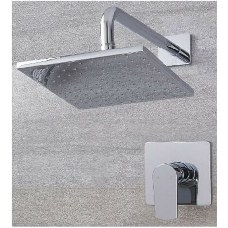 Milano Hunston - Modern Chrome Manual Mixer Shower Valve with 300mm Square Rainfall Shower Head and Wall Mounted Arm