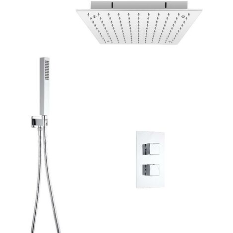 Milano Arvo - Modern 2 Outlet Twin Diverter Thermostatic Mixer Shower Valve with 400mm Ceiling Mounted Square Recessed Rainfall Shower Head and Hand Shower Handset Kit - Chrome