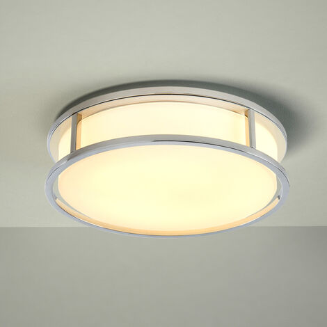 Milano Enns - 12W LED Round Chrome IP44 Bathroom Ceiling Bulkhead Light - Warm White