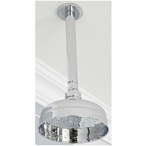 Milano Elizabeth - Traditional 155mm Round Fixed Apron Rainfall Shower Head with Ceiling Mounted Arm - Chrome