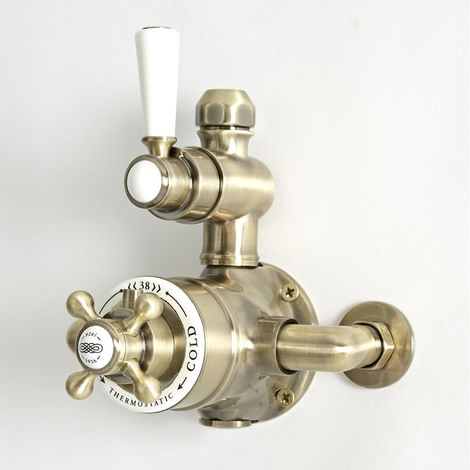Milano Elizabeth - Traditional Exposed Twin Thermostatic Shower Valve - Brushed Gold