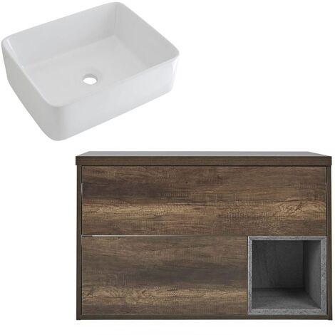 Milano Bexley – Dark Oak 1000mm Bathroom Vanity Unit with Rectangular Countertop Basin - with LED Light