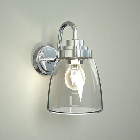 Milano Dochart - E27 Chrome Gooseneck IP44 Bathroom Wall Lantern Light with Curved Glass
