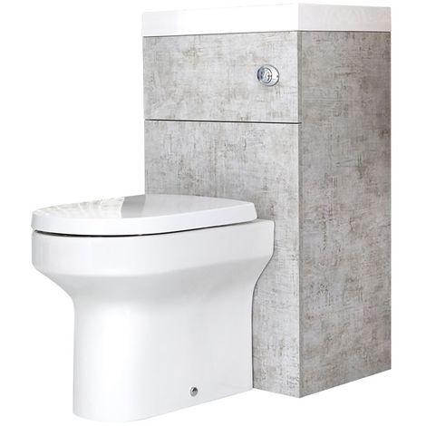 Milano Lurus - Modern Concrete Grey Bathroom Toilet WC and Basin Combination Unit - 502mm x 890mm
