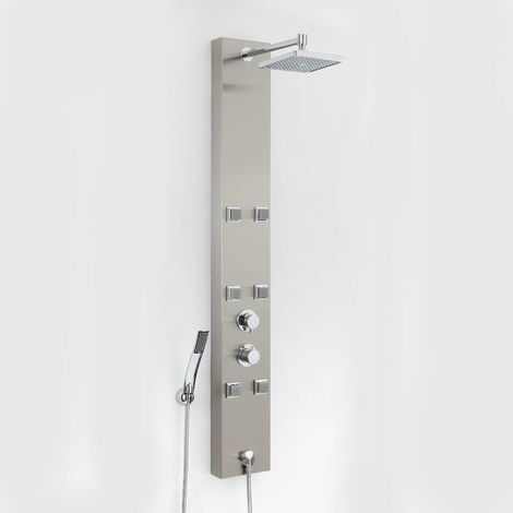 Milano Easton - Modern Exposed Thermostatic Shower Tower Panel with Rainfall Shower Head, Hand Shower Handset & Body Jets - Chrome