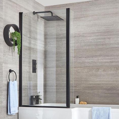Milano Nero - 800mm L-Shaped Square Bath Shower Screen - Black