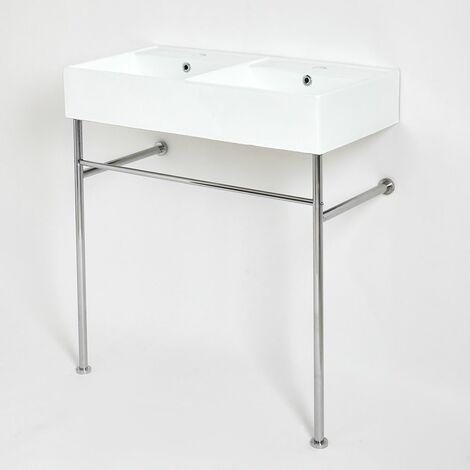 Milano Dalton - Modern White Ceramic Double Bathroom Basin Sink with Chrome Washstand - 820mm x 420mm