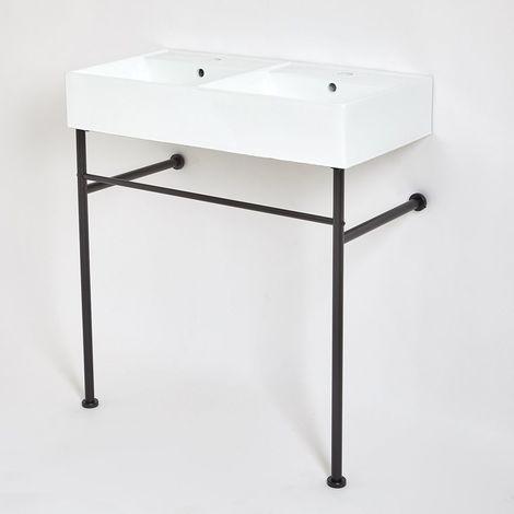 Milano Dalton - Modern White Ceramic Double Bathroom Basin Sink with Black Washstand - 820mm x 420mm