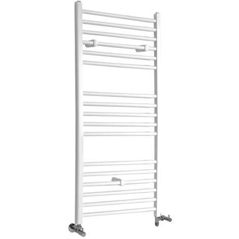 Milano Ive - Modern White Dual Fuel Electric Flat Heated Towel Rail Radiator - 1200mm x 500mm