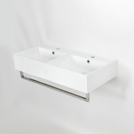 Milano Elswick - Modern White Ceramic Double Wall Hung Bathroom Basin Sink with Two Tap Holes and Chrome Towel Rail - 820mm x 420mm