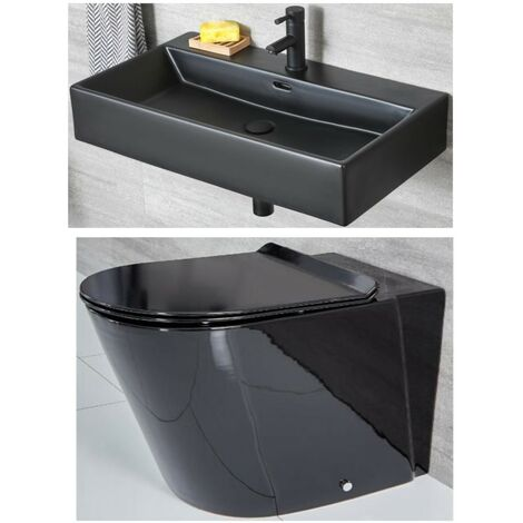 Milano Nero - Black Ceramic Modern Back to Wall Toilet WC and Wall Hung Bathroom Basin Sink with One Tap Hole