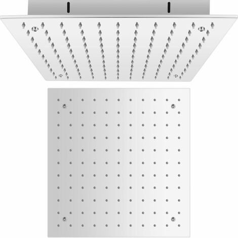 Milano Arvo - Chrome Modern 400mm Square Ceiling Mounted Recessed Shower Head