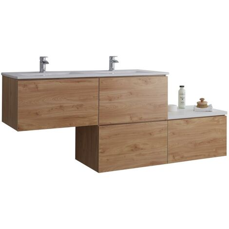 Milano Oxley - Oak and White 1797mm Wall Hung Stepped Bathroom Vanity Unit with Double Basin