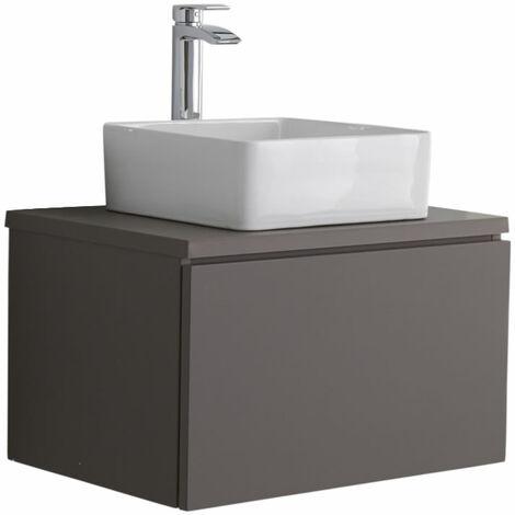 Milano Oxley - Grey 600mm Wall Hung Bathroom Vanity Unit with Square Countertop Basin