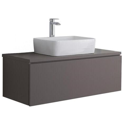 Milano Oxley - Grey 1000mm Wall Hung Bathroom Vanity Unit with Countertop Basin