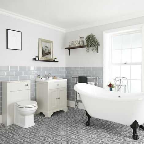 Milano Thornton - Antique White Traditional Bathroom Suite with Freestanding Double Ended Slipper Bath and Large Black Claw Feet, 630mm Vanity Unit and Back to Wall Toilet WC Unit