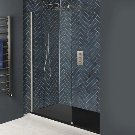 Milano Hunston - Recessed Walk In Wet Room Shower Enclosure with Screen, Support Arm and 1500mm x 800mm Graphite Slate Effect Tray - Brushed Nickel