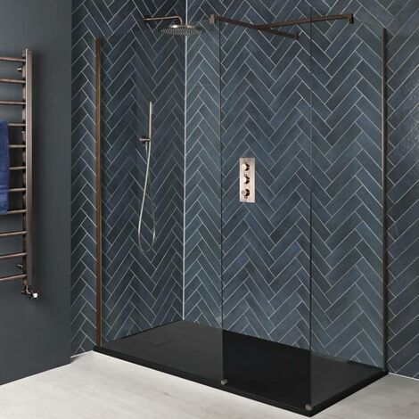 Milano Vara - Corner Walk In Wet Room Shower Enclosure with Screens, Support Arms and 1500mm x 800mm Graphite Slate Effect Tray - Matte Copper