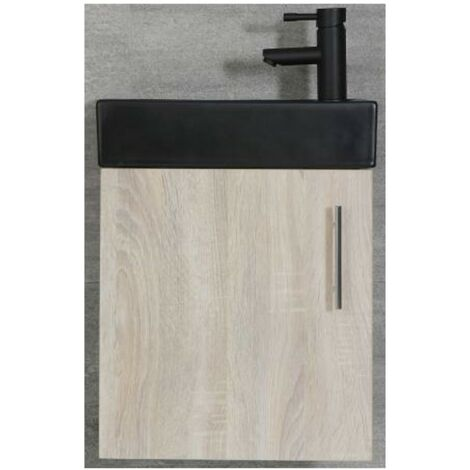Milano Lurus - Oak 400mm Compact Wall Hung Bathroom Cloakroom Vanity Unit with Black Basin