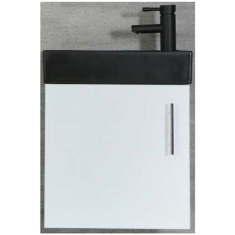 Milano Lurus - White 400mm Compact Wall Hung Bathroom Cloakroom Vanity Unit with Black Basin