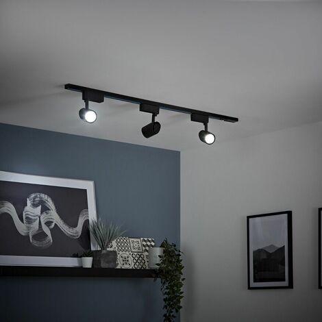 Biard - 7W Black Single Circuit Cool White LED Track Light Kit - 1m